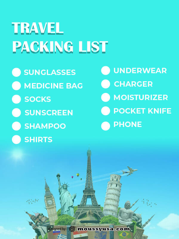packing list psd template free