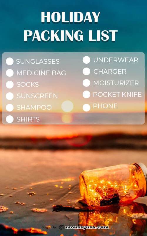 packing list template free psd