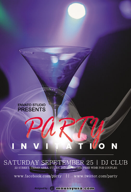 party invitation free psd template