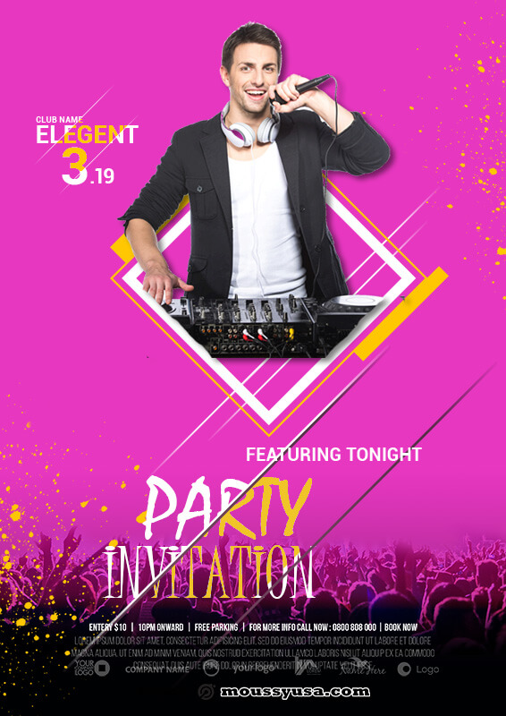party invitation psd template free