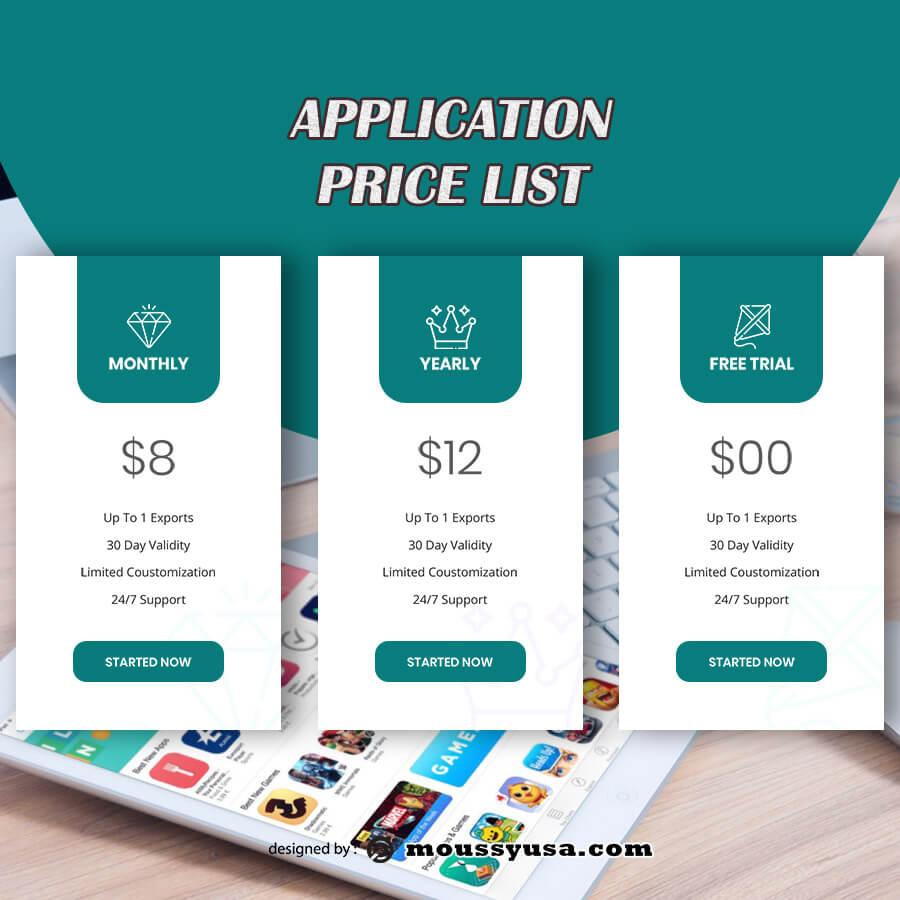 price list customizable psd design template