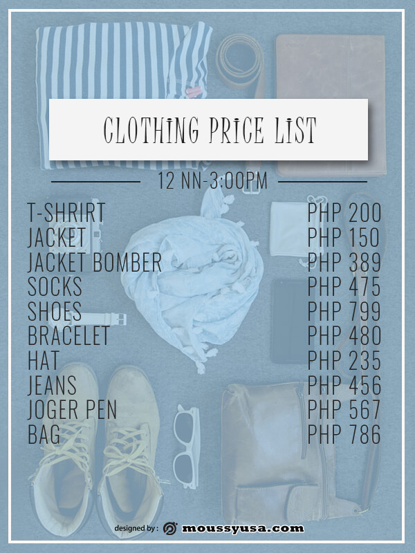 price list free psd template