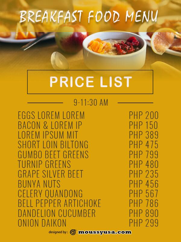 price list psd template free