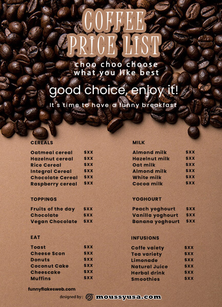 price list template for photoshop