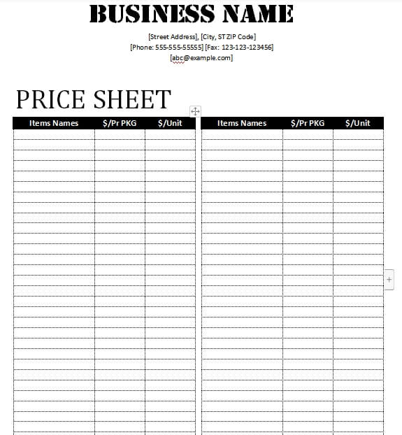price sheet word template free