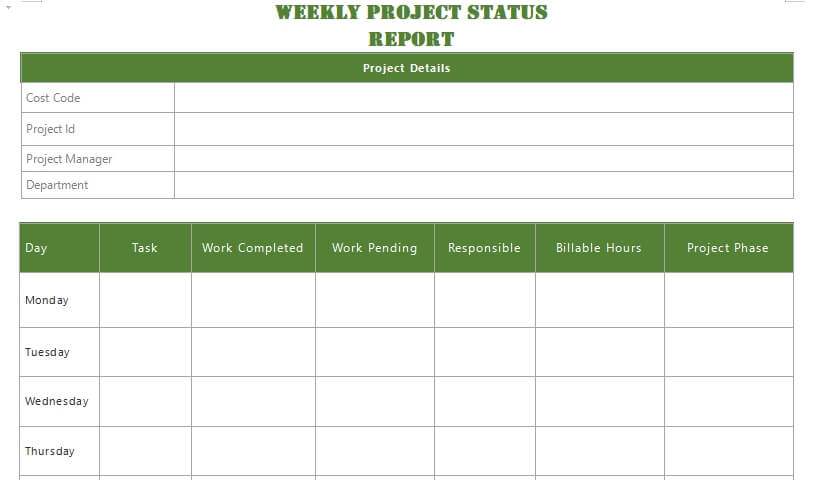 project status report customizable word design template