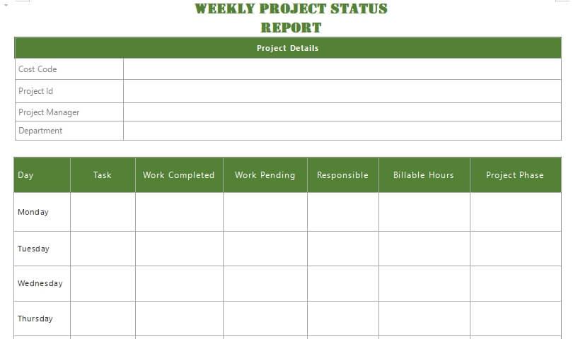 project status report customizable word design template