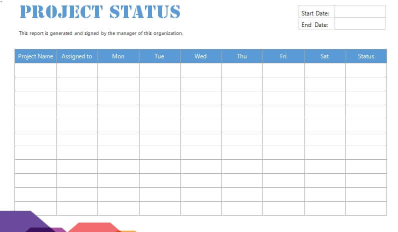 project status report free word template