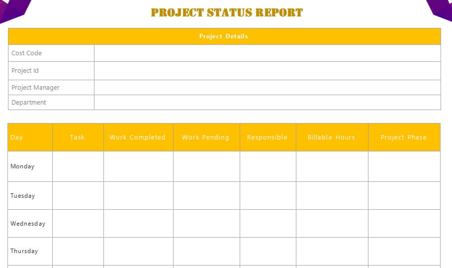 project status report in word free download