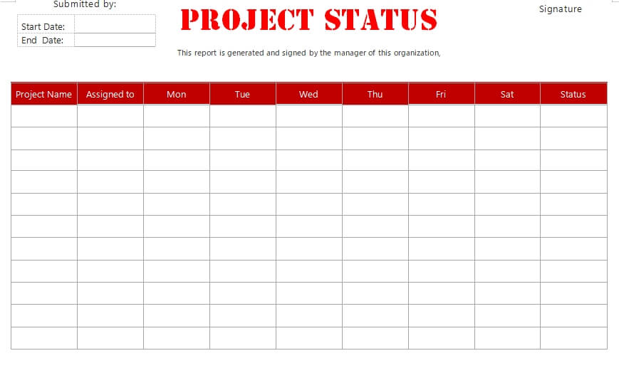 project status report in word