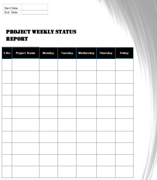 project status report template for word