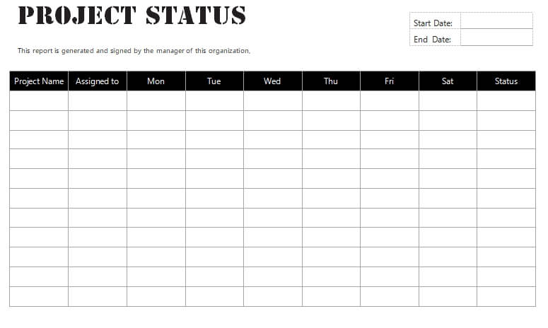 project status report template free word
