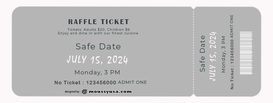 raffle ticket free psd template