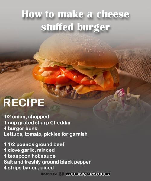 recipe card free psd template
