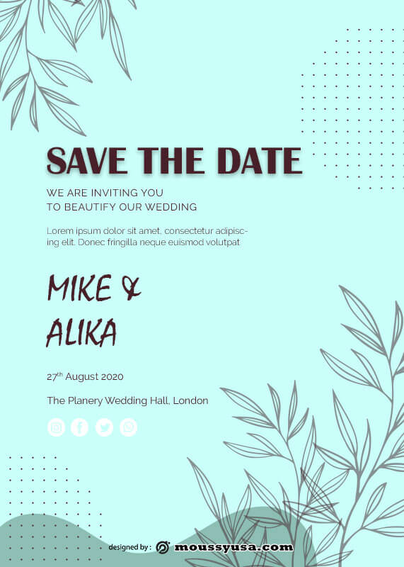 save the date psd template free
