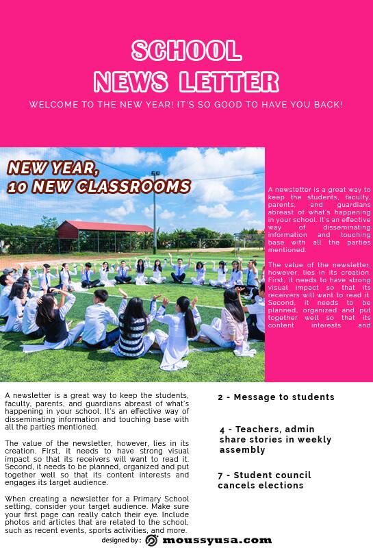 school newsletter customizable psd design template