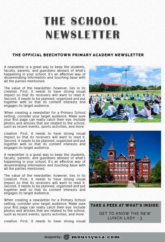 school newsletter example psd design