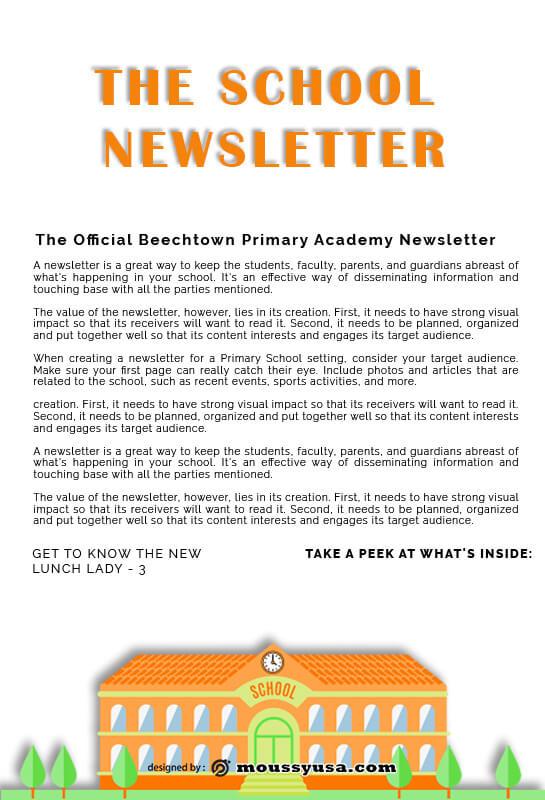 school newsletter free psd template