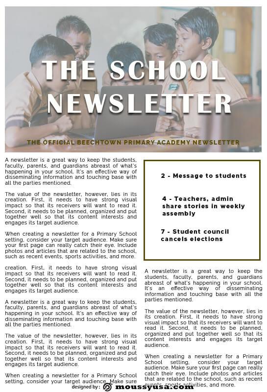 school newsletter in psd design
