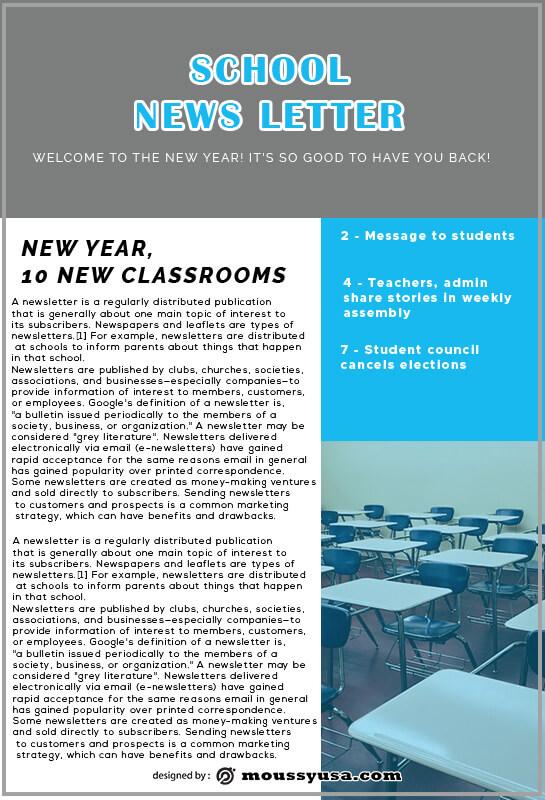 school newsletter psd template free