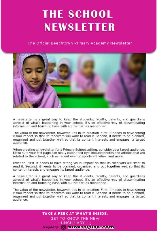school newsletter template free psd