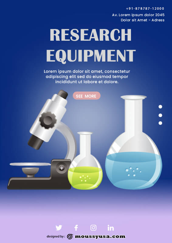 scientific poster customizable psd design template