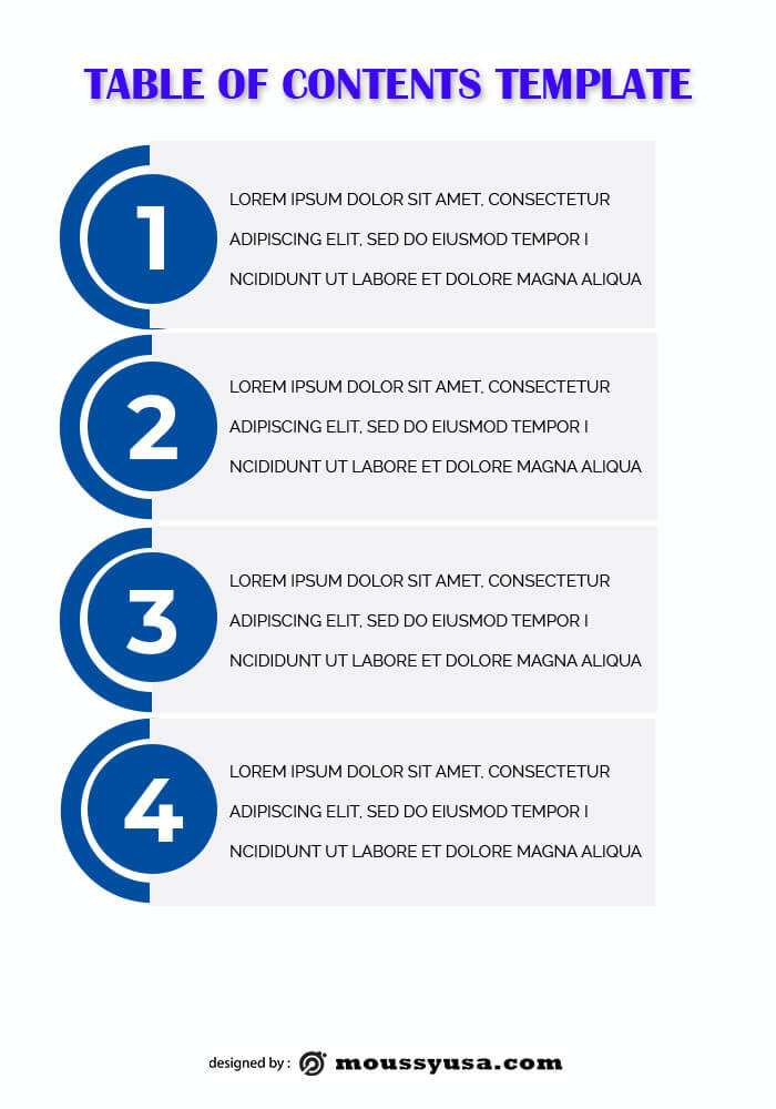 table of contents template example psd design