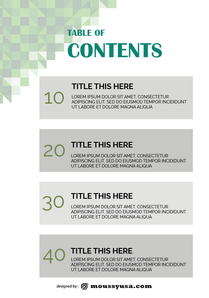 table of contents template template free psd