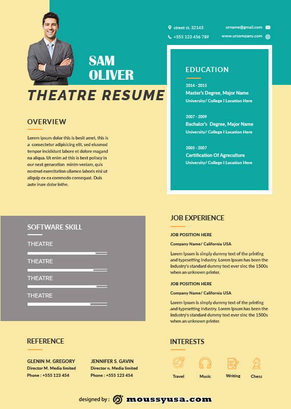 theatre resume customizable psd design template