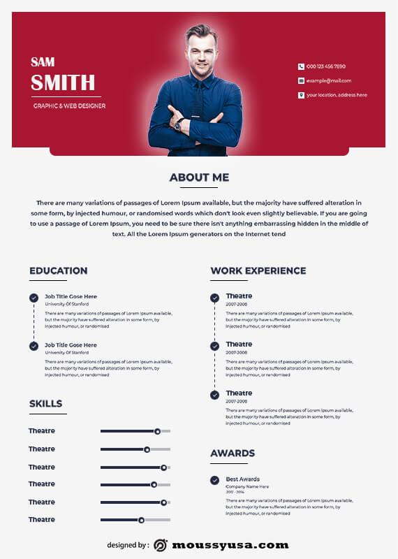 theatre resume example psd design