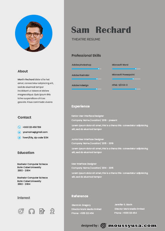 theatre resume free download psd