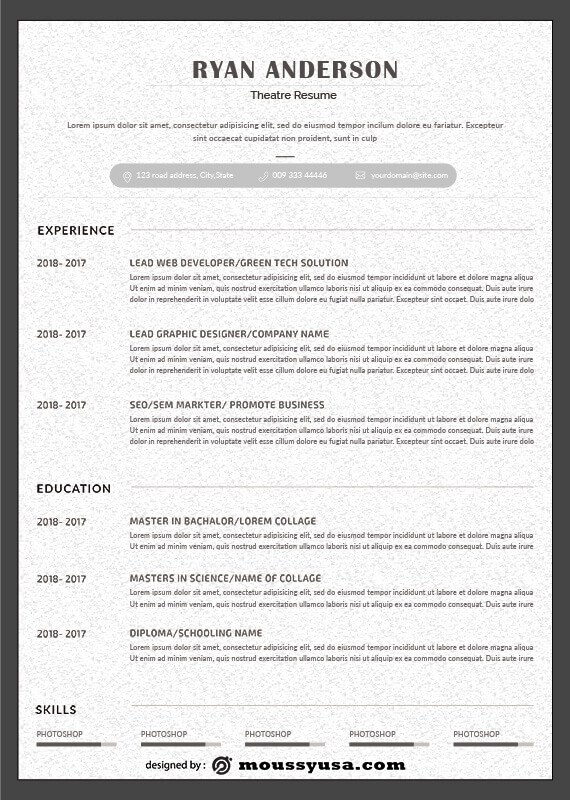 theatre resume free psd template