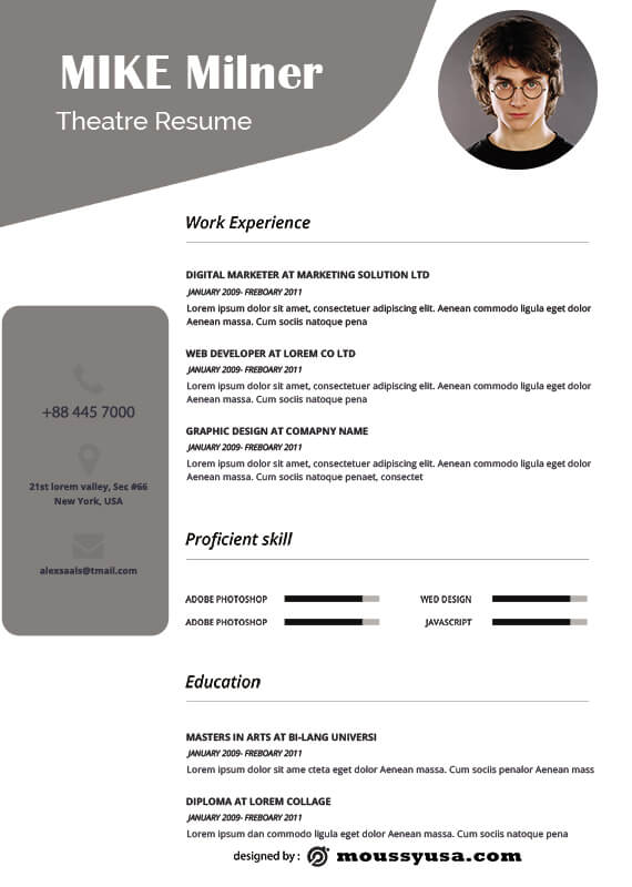 theatre resume in photoshop