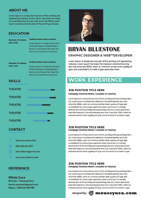 theatre resume in psd design