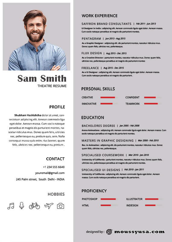 theatre resume psd template free