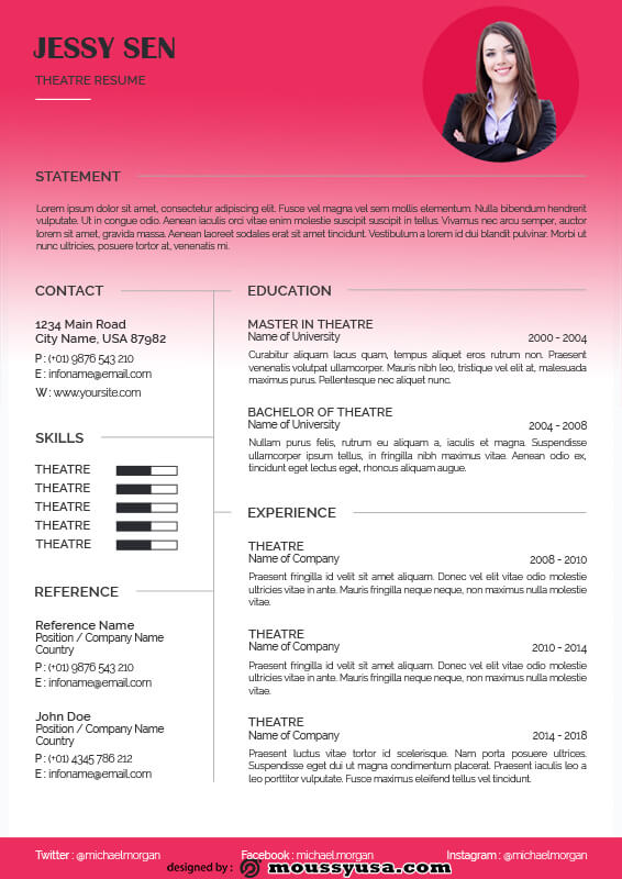 theatre resume template free psd