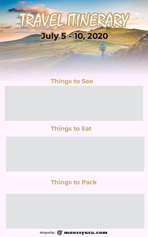 travel itinerary customizable psd design template