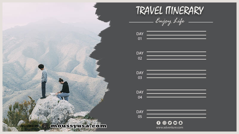 travel itinerary template for photoshop