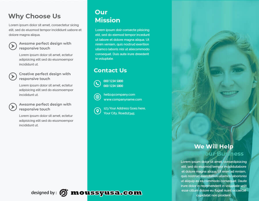 tri fold brochure customizable psd design template