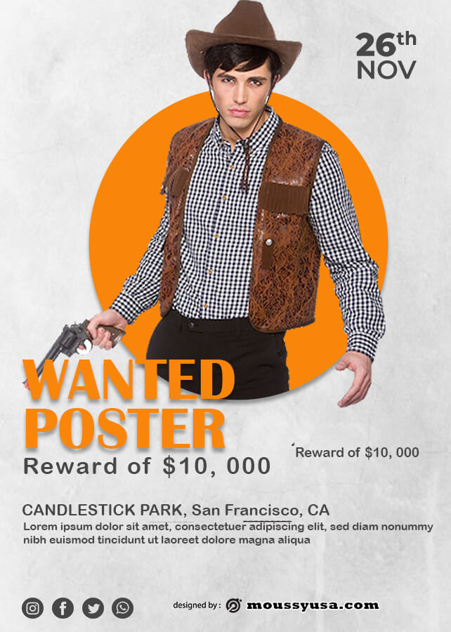 wanted poster template free psd
