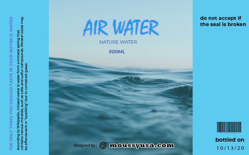 water bottle label example psd design