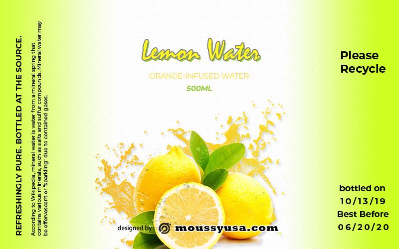 water bottle label psd template free