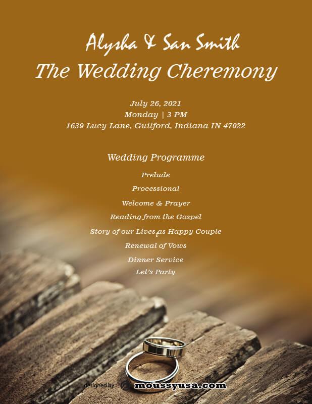 wedding ceremony program customizable psd design template