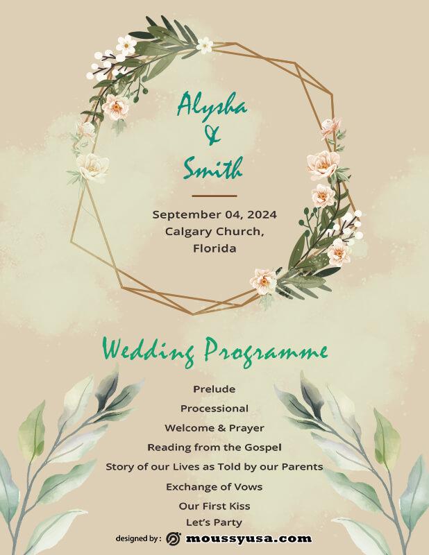 wedding ceremony program example psd design