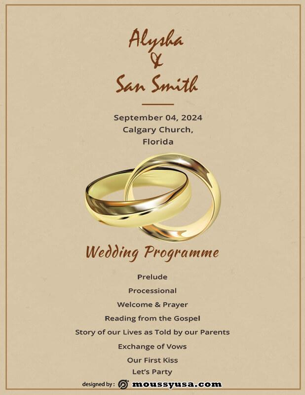 wedding ceremony program free download psd