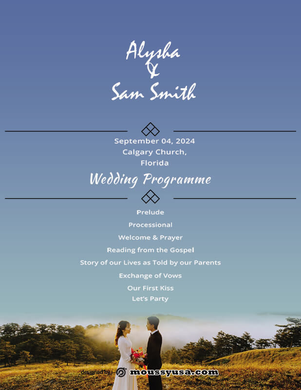 wedding ceremony program in photoshop