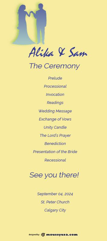 wedding ceremony program in psd design