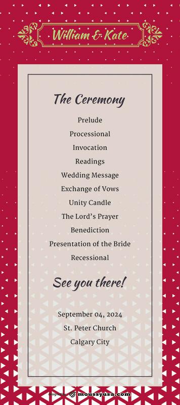 wedding ceremony program psd template free