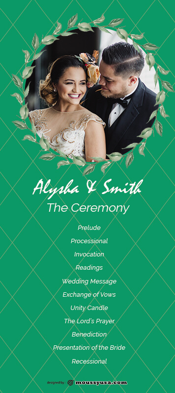 wedding ceremony program template for photoshop