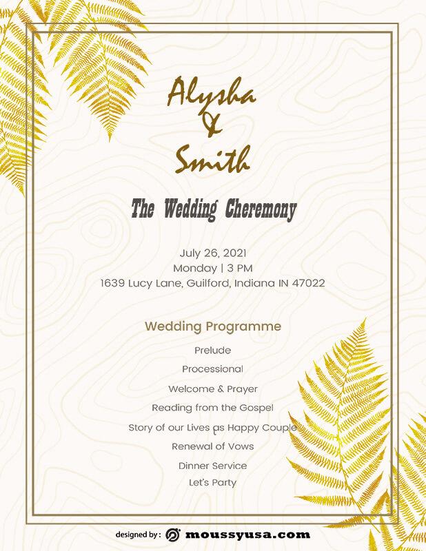 wedding ceremony program template free psd
